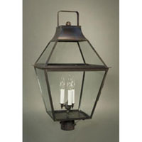 Uxbridge 3 Light 29 inch Dark Brass Post Lantern in Clear Glass, No Chimney, Candelabra
